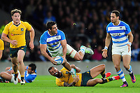 Pablo Matera of Argentina looks to offload the ball. The Rugby Championship match between Argentina and Australia on October 8, 2016 at Twickenham Stadium in London, England. Photo by: Patrick Khachfe / Onside Images