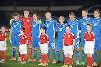 Some of the Icelandic team and the mascots. Cardiff City Stadium, Cardiff, Wales, Wednesday 5th March 2014. The Football Association of Wales - Vauxhall International Friendly - Wales v Iceland. Pictures by Jeff Thomas Photography - www.jaypics.photoshelter.com - Contact: thomastwotimes@live.co.uk - 07837 386244