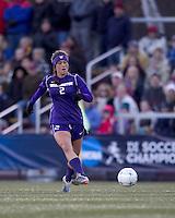 "University of Washington midfielder Kate Deines (2) passes the ball. In overtime, Boston College defeated University of Washington, 1-0, in NCAA tournament ""Elite 8"" match at Newton Soccer Field, Newton, MA, on November 27, 2010."
