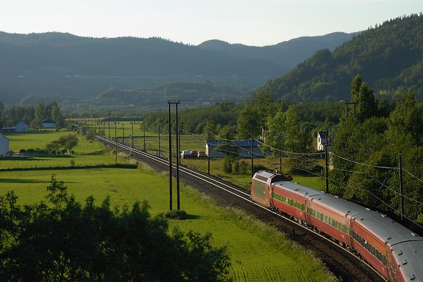 Train in landscape Landscape, landskap,