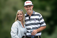 Padraig Harrington, professional golfer, Rep of Ireland, with wife, Caroline. .Ref: 2001062633m. Taken at Murphy's Irish Open Golf event at Fota Island between 26 and 28 June 2001...Copyright Image from Victor Patterson, 54 Dorchester Park, Belfast, UK, BT9 6RJ..Tel: +44 28 9066 1296.Mob: +44 7802 353836.Voicemail +44 20 8816 7153.Skype: victorpattersonbelfast.Email: victorpatterson@mac.com.Email: victorpatterson@ireland.com (back-up)..IMPORTANT: If you wish to use this image or any other of my images please go to www.victorpatterson.com and click on the Terms & Conditions. Then contact me by email or phone with the reference number(s) of the image(s) concerned.