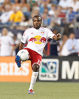 New York Red Bulls forward Dane Richards (19) volley pass. In a Major League Soccer (MLS) match, New England Revolution defeated New York Red Bulls, 2-0, at Gillette Stadium on July 8, 2012.