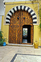 Tunisia, Sidi Bou Said.  Doorway from Courtyard of Dar Annabi, to Inner Portion of the House.  The Dar Annabi is a Private Home open for Public Viewing.  Originally constructed 18th. century, remodeled 20th. century.
