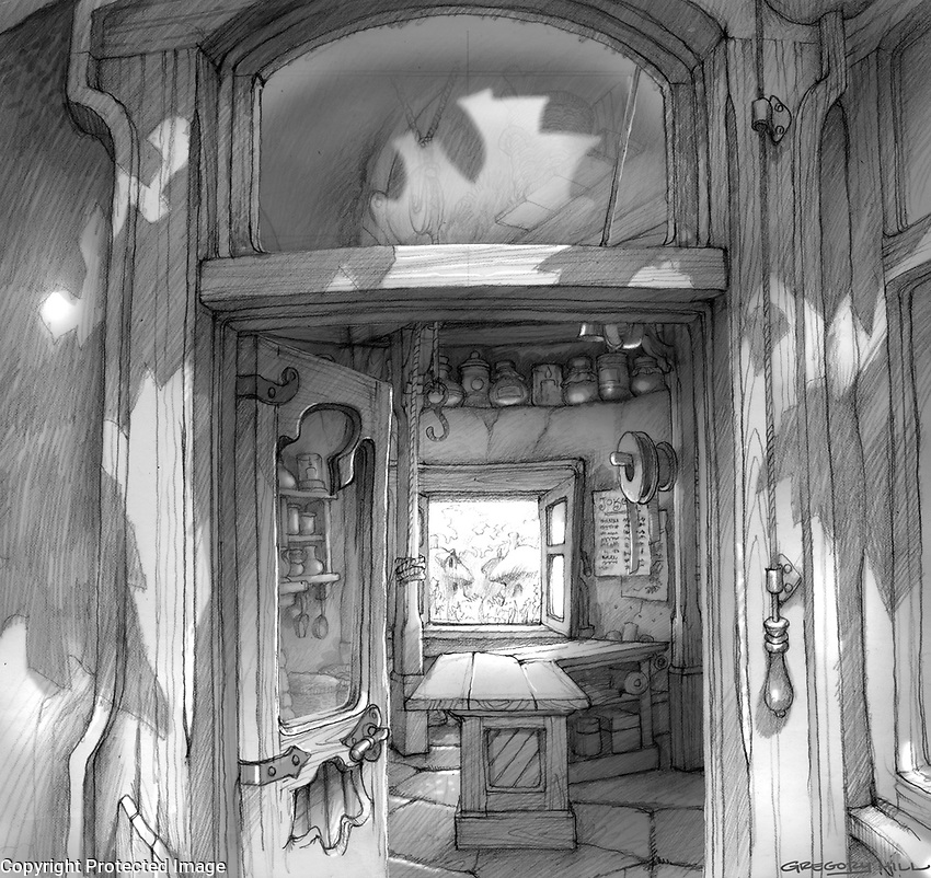 There is one visual gag in Jokey's shop… so I got to design the interior, full of his typical gift boxes. This is a drawing I'm especially proud of.