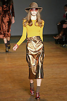 Codie Young walks runway in an outfit from the Marc by Marc Jacobs Fall/Winter 2011 collection, during New York Fashion Week, Fall 2011.