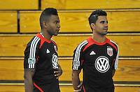 D.C. United midfielder Marcelo Saragosa right with forward Lionard Pajoy left during the pre-season fitness training session at George Manson University before departing for Bradenton Florida to get ready for the 2013 season, Friday January 18, 2013.