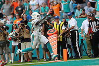 British Born Miami Dolphins  Running Back Jay Ajayi scoring the Winning Touchdown in Overtime against the Cleveland Browns on the 25th September 2016 at  the Hard Rock Stadium Miami Florida