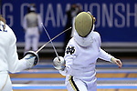 DURHAM, NC - FEBRUARY 25: Notre Dame's Amanda Sirico (right) and Duke's Rita Somogyi (left) in the Women's Epee championship match. The Atlantic Coast Conference Fencing Championships were held on February, 25, 2017, at Cameron Indoor Stadium in Durham, NC.
