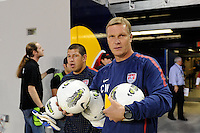 United States goalkeeper coach Chris Woods and goalkeeper Nick Rimando (12) come out for warmups. The men's national team of the United States (USA) was defeated by Ecuador (ECU) 1-0 during an international friendly at Red Bull Arena in Harrison, NJ, on October 11, 2011.