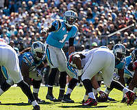 The Carolina Panthers defeated the Atlanta Falcons 34-10 in an inter-division rivalry played in Charlotte, NC at Bank of America Stadium.  Carolina Panthers quarterback Cam Newton (1) calls signals.