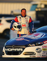 Feb 12, 2016; Pomona, CA, USA; NHRA pro stock driver Allen Johnson poses for a portrait during qualifying for the Winternationals at Auto Club Raceway at Pomona. Mandatory Credit: Mark J. Rebilas-USA TODAY Sports
