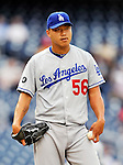 8 September 2011: Los Angeles Dodgers pitcher Hong-Chih Kuo on the mound against the Washington Nationals at Nationals Park in Washington, DC. The Dodgers defeated the Nationals 7-4 to take the third game of their 4-game series. Mandatory Credit: Ed Wolfstein Photo
