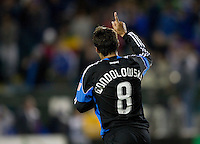 Chris Wondolowski of Earthquakes celebrates the fans after Wondolowski scored a goal during the second half of the game against Red Bull at Buck Shaw Stadium in Santa Clara, California.  San Jose Earthquakes defeated New York Red Bulls, 4-0.