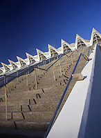 Museum of Sciences Principe Felipe (Detail of the stairs), 40,000 square meters devoted to bringing science and technology closer to the public, City of Arts and Sciences, Valencia, Comunidad Valenciana, Spain ; 2000 ; Santiago Calatrava (Valencia, Spain, 1951) Picture by Manuel Cohen
