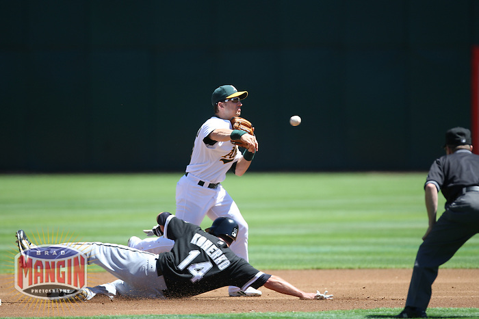 OAKLAND, CA - August 16:  Paul Konerko of the Chicago White Sox is forced out at second base as Oakland Athletics shortstop Marco Scutaro turns a double play during the game at the McAfee Coliseum in Oakland, California on August 16, 2007.  The Athletics defeated the White Sox 8-5.  Photo by Brad Mangin