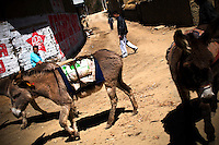 A man herds donkeys through the narrow streets of San Cristóbal de Rapaz, a peasant community in the highlands of Peru.