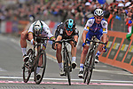 Michal Kwaitkowski (POL) Team Sky outsprints World Champion Peter Sagan (SVK) Bora-Hansgrohe and Julian Alaphilippe (FRA) Quick-Step Floors to win the 108th edition of Milan-San Remo 2017 by NamedSport the first Classic Monument of the season running 291km from Milan to San Remo, Italy. 18th March 2017.<br /> Picture: La Presse/Gian Mattia D'Alberto | Cyclefile<br /> <br /> <br /> All photos usage must carry mandatory copyright credit (&copy; Cyclefile | La Presse)