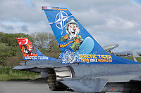 Two Turkish F-16 fighter jets in tiger paint scheme. Nato Tiger Meet is an annual gathering of squadrons using the tiger as their mascot. While originally mostly a social event it is now a full military exercise. Tiger Meet 2012 was held at the Norwegian air base Ørlandet.