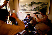 Seoul, South Korea<br /> June 24, 1987<br /> <br /> Kim Dea-jong, at home with a calender marking his days under house arrest as opposition leader to the ruling party. The press interviews him upon his release.<br /> <br /> Kim Dae-jung (3 December 1925 to 18 August 2009) was President of South Korea from 1998 to 2003, and the 2000 Nobel Peace Prize recipient. As of this date Kim is the first and only Nobel laureate to hail from Korea. A Roman Catholic since 1957, he has been called the &quot;Nelson Mandela of Asia&quot; for his long-standing opposition to authoritarian rule.
