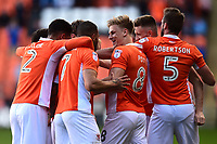 Blackpool's Brad Potts and his team-mates mob Mark Cullen after he scored his sides first goal <br /> <br /> Photographer Richard Martin-Roberts/CameraSport<br /> <br /> The EFL Sky Bet League Two Play-Off Semi Final First Leg - Blackpool v Luton Town - Sunday May 14th 2017 - Bloomfield Road - Blackpool<br /> <br /> World Copyright &copy; 2017 CameraSport. All rights reserved. 43 Linden Ave. Countesthorpe. Leicester. England. LE8 5PG - Tel: +44 (0) 116 277 4147 - admin@camerasport.com - www.camerasport.com