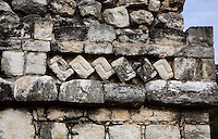 Ball Court, Detail of Cornice, Ek Balam (?Black Jaguar? in Maya), flourished during the Late Classic period between 700 and 1200 AD, Yucatan, Mexico. Picture by Manuel Cohen