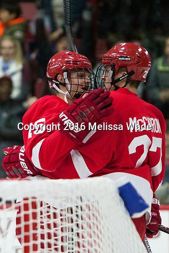 Trevor Yates (Cornell - 15), Patrick McCarron (Cornell - 27) - The Harvard University Crimson defeated the visiting Cornell University Big Red on Saturday, November 5, 2016, at the Bright-Landry Hockey Center in Boston, Massachusetts.