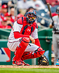 3 April 2017: Washington Nationals catcher Matt Wieters glances back to the dugout during game action against the Miami Marlins on Opening Day at Nationals Park in Washington, DC. The Nationals defeated the Marlins 4-2 to open the 2017 MLB Season. Mandatory Credit: Ed Wolfstein Photo *** RAW (NEF) Image File Available ***