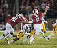 STANFORD, CA - November 21, 2015: The Cal Bears vs Stanford Cardinal at Stanford Stadium in Sanford, CA. Final score Cal Bears 22, Stanford 35.