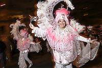 Dressed in Brasilian Carnival costume, a woman dances to live samba music during the 41st Annual Halloween Parade. 10.31.2014. Photo by Marco Aurelio/VIEWpress