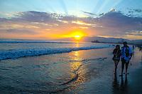 Santa Monica Beach amid the sunset on Sunday, July 14, 2013. #santamonica, #beach, #California