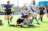 Chris Ashton of Saracens reaches for the Glasgow Warriors try-line. European Rugby Champions Cup Quarter Final, between Saracens and Glasgow Warriors on April 2, 2017 at Allianz Park in London, England. Photo by: Patrick Khachfe / JMP