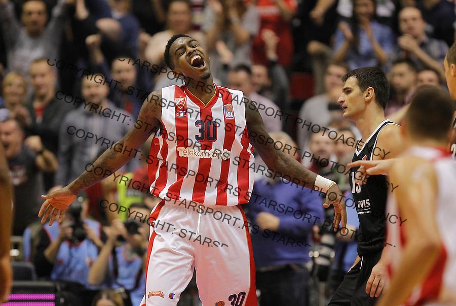 Kosarka ABA League season 2015-2016<br /> Crvena Zvezda v Partizan<br /> Quinci Miller celebrates<br /> Beograd, 03.11.2015.<br /> foto: Srdjan Stevanovic/Starsportphoto&copy;