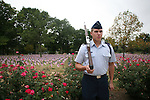 Air Force ROTC cadet Jared Sykes stands vigil while the names of the 2974 deaths from the attacks on Sept. 11, 2001 are read. The Pershing Rifles -- a mixture of Air Force and Army cadets -- read the names from 8:46 a.m. Friday until 5 p.m. Photo by John Foster | Staff