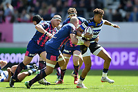 Anthony Watson of Bath Rugby takes on the Stade Francais defence. European Rugby Challenge Cup Semi Final, between Stade Francais and Bath Rugby on April 23, 2017 at the Stade Jean-Bouin in Paris, France. Photo by: Patrick Khachfe / Onside Images