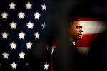 Des Moines, Iowa, USA, 20080103: The Iowa Caucus, the first stepping stone on the way to the White House for the Presidential Hopeful candidates. Barack Obama and the American Flag. Photo: Orjan F. Ellingvag/ Dagens Naringsliv