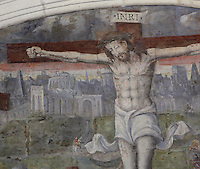 Crucifixion fresco, Chapter House, Fontevraud Abbey, Fontevraud-l'Abbaye, Loire Valley, Maine-et-Loire, France. The Chapter House was built in the 16th century and its walls were painted in 1563 with frescoes of scenes from Christ's Passion by the Anjou artist Thomas Pot. Here we see a detail of Christ on the cross wearing his crown of thorns. The abbey itself was founded in 1100 by Robert of Arbrissel, who created the Order of Fontevraud. It was a double monastery for monks and nuns, run by an abbess. Picture by Manuel Cohen