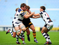 Brendan Macken of Wasps is double-tackled. Pre-season friendly match, between Wasps and Yorkshire Carnegie on August 21, 2016 at the Ricoh Arena in Coventry, England. Photo by: Patrick Khachfe / JMP