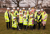 Pictured at the Turf Cutting Ceremony at Annie Holgate Primary School in Hucknall, at the front from left are Abbey Davies, 6, Tyrell Atkinson, 7, Isabella Richards, 9, Alfie Grant, 6 and China Atkinson, 5 along with representatives from Kier Construction and the School