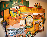 A mural on the wall tells the story of the building and grounds at Chateau O'Brien Winery and Vineyard.