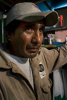 Pedro Rodriguez Lucas survives from recycling and restoring garbage to later re-sell on the streets.  His speciality are shoes.  He lives in the  Mexico City neighbourhood of Gustavo Amadero.  Mexico DF, 09-08-07
