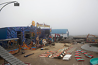 Seaside Heights, NJ - June 30, 2013 : The remains of the Casino Pier that was partially destroyed by Superstorm Sandy at Seaside Heights, NJ on June 30, 2013. People are returning to the beaches for the summer after recovery efforts post Superstorm Sandy.