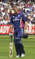 .29/06/2002.Sport - Cricket - .NatWest triangler Series England - Sri Lanka - India.England vs india 50 overs.  Lord's ground.England batting -  Andrew Flintoff, watch's the replay of the loss of his wicket on the big screen caught Mongia bowled Yuvraj Singh ...