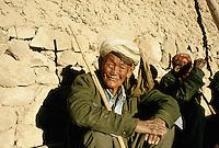Two Hazara leprosy in a German NGO small village, two Kilometres outside Yakawlang. Leprosy is still considered as a contagious malediction disease so the Afghan society still reject them outside the citys and villages.