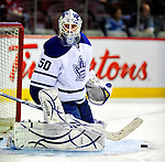 10 April 2010: Toronto Maple Leafs' goaltender Jonas Gustavsson warms up prior to a game against the Montreal Canadiens at the Bell Centre in Montreal, Quebec, Canada. The Maple Leafs defeated the Canadiens 4-3 in sudden death overtime. Mandatory Credit: Ed Wolfstein Photo
