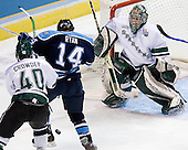 Tim Crowder (Michigan State - Victoria, BC), Billy Ryan (University of Maine - Milton, MA), Jeff Lerg (Michigan State - Livonia, MI) - The Michigan State Spartans defeated the University of Maine Black Bears 4-2 in their 2007 Frozen Four semi-final on Thursday, April 5, 2007, at the Scottrade Center in St. Louis, Missouri.