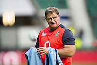 England Rugby Scrum Coach Neal Hatley looks on during the pre-match warm-up. Old Mutual Wealth Series International match between England and Argentina on November 26, 2016 at Twickenham Stadium in London, England. Photo by: Patrick Khachfe / Onside Images
