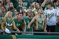 Tampa, FL - September 2, 2016: USF fans cheer during game between Towson and USF at the Raymond James Stadium in Tampa, FL. September 2, 2016.  (Photo by Elliott Brown/Media Images International)