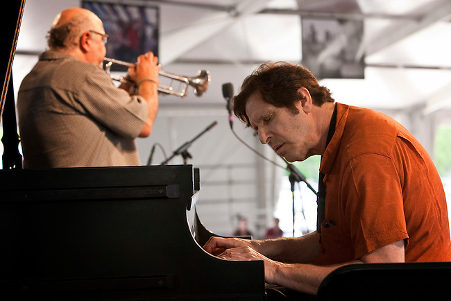 Trumpeter Clyde Kerr and pianist Joel Futterman of Kidd Jordan with Al Fielder and the IAQ performs on the WWOZ Jazz Tent stage during the New Orleans Jazz & Heritage Festival at the Fairgrounds Race Course in New Orleans, Louisiana, USA, 2 May 2009.
