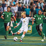 24 September 2016: University of Vermont Catamount Forward/Midfielder Stefan Lamanna, a Senior from Pickering, Ontario, in action against the Dartmouth College Big Green at Virtue Field in Burlington, Vermont. The teams played to an overtime 1-1 tie in front of an Alumni Weekend crowd of 1,710 fans. Mandatory Credit: Ed Wolfstein Photo *** RAW (NEF) Image File Available ***