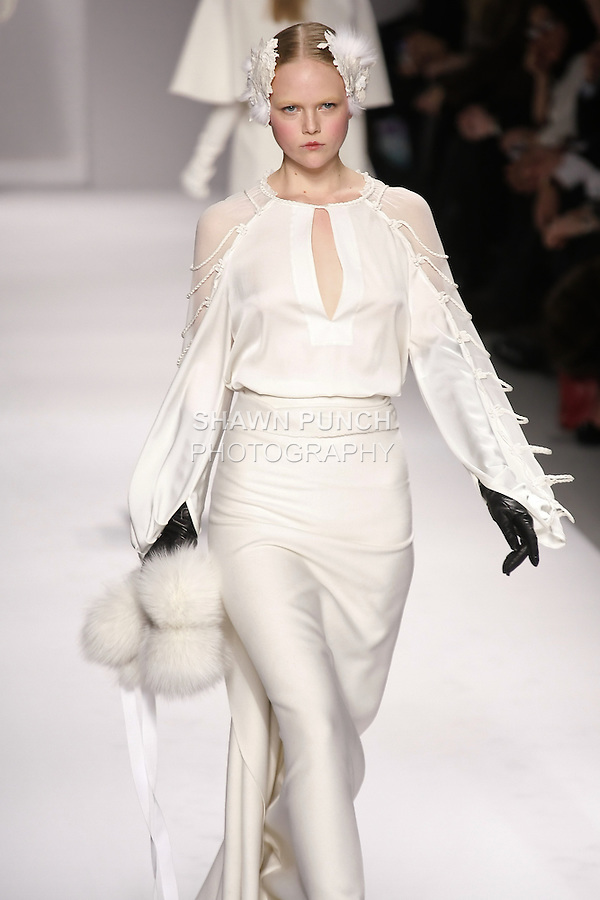 Anne Sophie Monrad walks runway in an outfit from the Elie Tahari Fall 2011 collection, during Mercedes-Benz Fashion Week Fall 2011.